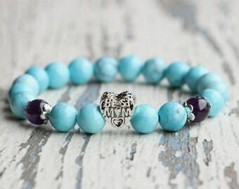 best mom gifts tender bracelet mother jewellery howlite gift for mom best mom's birthday blue beads gems Mother's day gift from daughter