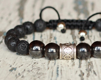Hematite bracelets adjustable shamballa. Jewelry mens bracelets. Black beaded guy gifts for dad wrap bracelet