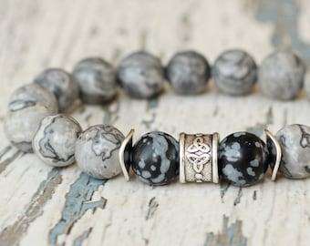 men jewelry grey bracelet. Husband gift. Hipster bracelet. gemstone beaded bracelet. Marble beads 10mm bead snowflake obsidian