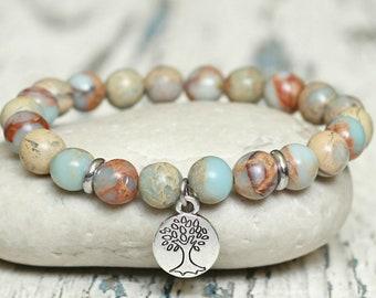 tree of life bracelets healing sister gift under 30 good luck protection charm bracelet bohemian serpentine gemstone beaded bracelet stretch