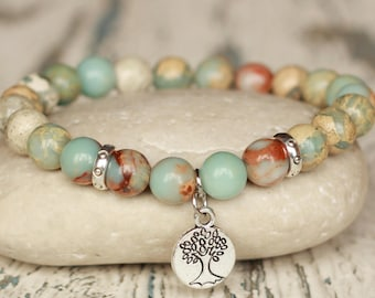 tree of life bracelets healing sister gift under 20 good luck protection charm bracelet bohemian serpentine gemstone beaded bracelet stretch