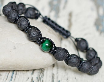 Bracelet homme black shamballa. Braided men protective beads waterproof jewelry. Friendship gift for godfather. Stones green tiger eye 8mm