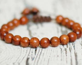 Waterproof bracelet mens. wood beads shamballa. Adjustable bangle. mala for men. birthday gift surfer jewelry