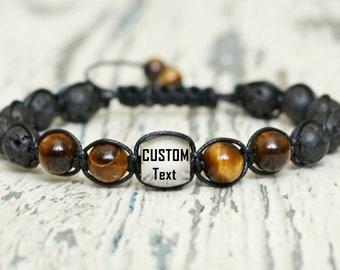personalized mens custom gift bracelet engraved shamballa jewelry boyfriend monogram bracelet braided name bracelet date customize wristband
