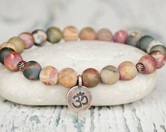 om charm bracelets ohm gemstone jewelry tibetan yoga bracelet gift for sister spiritual namaste balance bracelet beads colored stones
