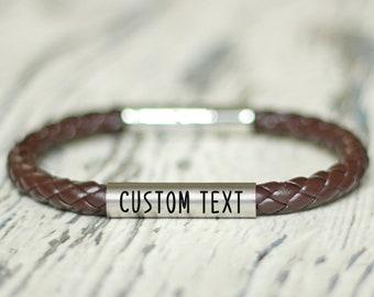 Custom men bracelet gift for dad. Personalized jewelry cord friendship. Engraved name ID braided bracelets. Coordinates BFF bracelet
