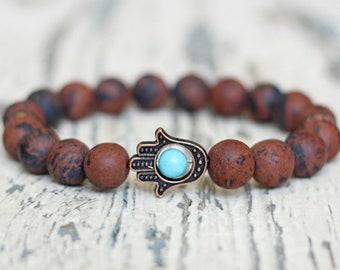 hamsa hand bracelet good luck obsidian stone jewelry coffee brown meditation jewelry gift for boyfriend beads for men