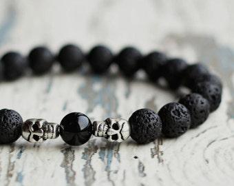 skull jewelry lava stone men's skull bracelet black bracelet for guys stretch day of the dead skull beads gift for boyfriend Goth jewellery