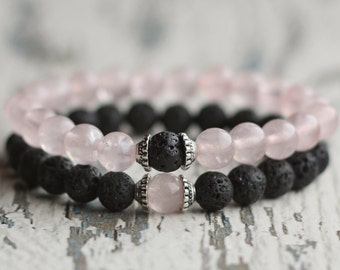 Bracelet set gift for couples bracelet his her matching couple jewelry wife gifts for boyfriend girlfriend distance relationship pink black