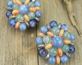 Vintage Liz Claiborne Beaded Cluster Earrings