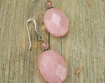 Vintage Pink Sterling Silver Earrings