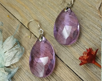 Vintage Purple Tear Drop Bead Earrings