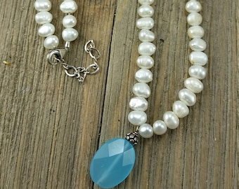Vintage White Beaded Necklace with Blue Bead Pendant