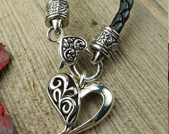 Vintage Black Leather Necklace with Heart Locking Pendant