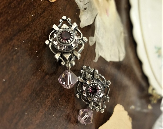Vintage Purple Clip On Earrings with Rhinestones