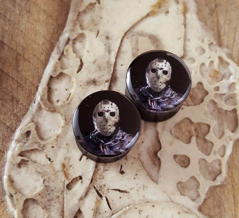 Jason Friday the 13th Ear Plugs 1 pair Gauges For Stretched Ears Double Flared Horror Plugs.