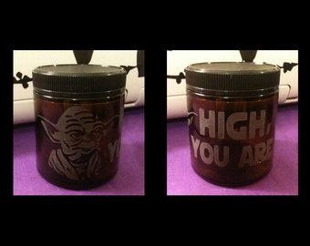Custom Etched Glass Medical Dispensary Stash Jar - Yoda