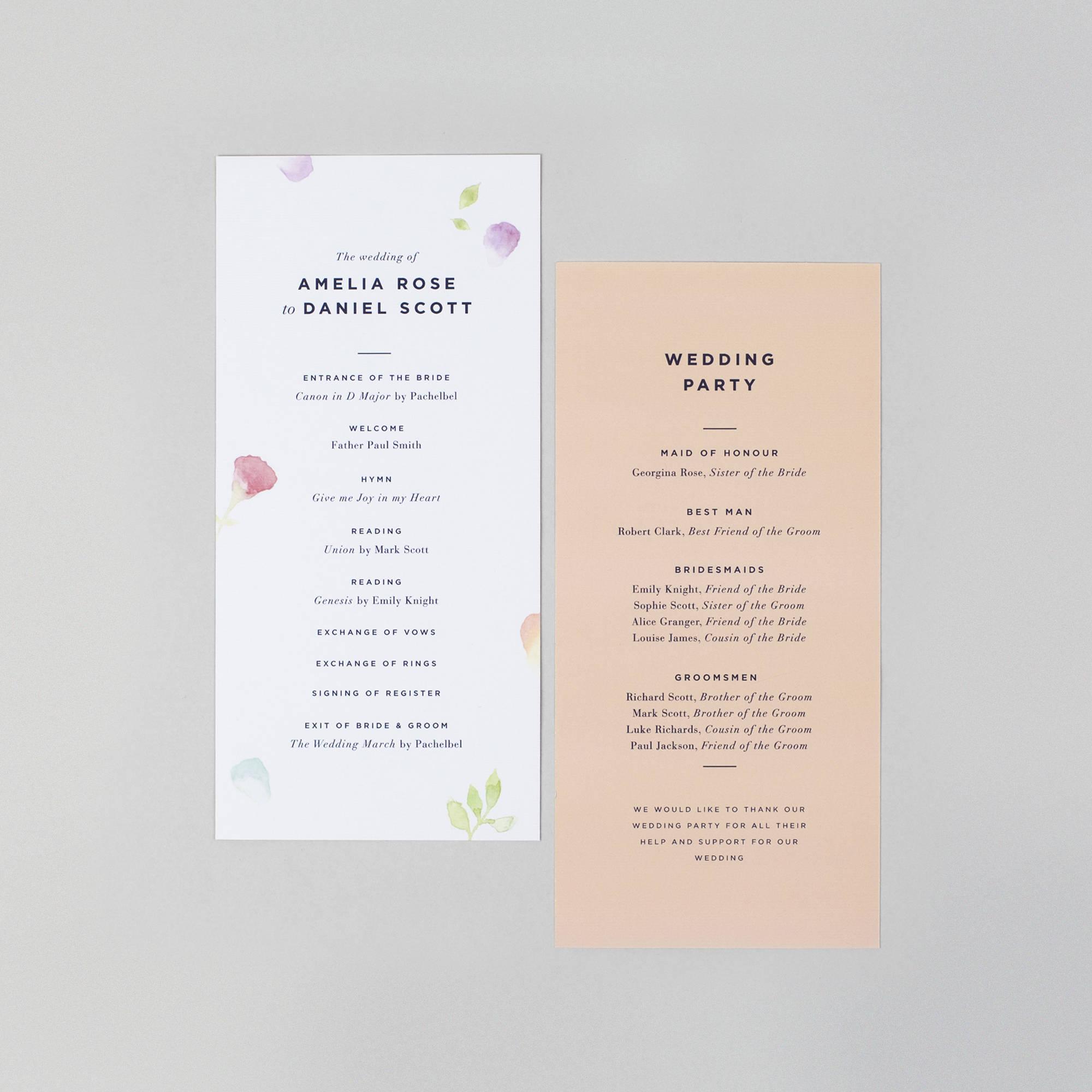 Wedding Order Of Service.Amelia Wedding Order Of Service Card Floral Wedding Programme Card Watercolour Wedding Order Of Service Wedding Invitations