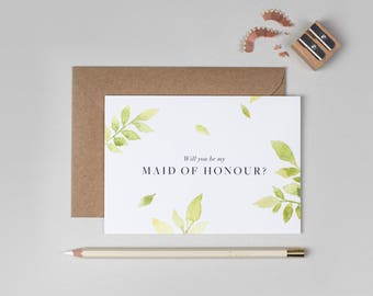 Will you be my Maid of Honour Card/Botanical Maid of Honour Card/Maid of Honour/Floral Maid of Honour Card/Watercolour Maid of Honour Card