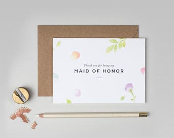 Thank you Maid of Honor Card/Amelia Maid of Honor Card/Maid of Honor/Floral Maid of Honor Card/Watercolour Maid of Honor Card