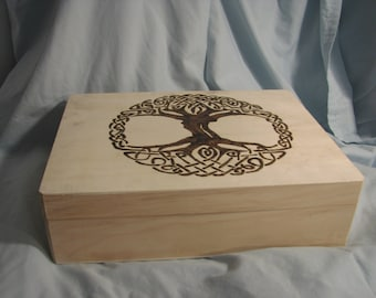 Celtic Tree of Life Box Wood Burning