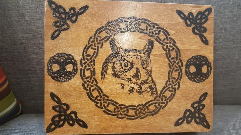 Custom Wood Burned Design Wood Box
