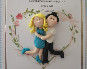 Personalised engagement card, personalized figures by Hot Dough Creations