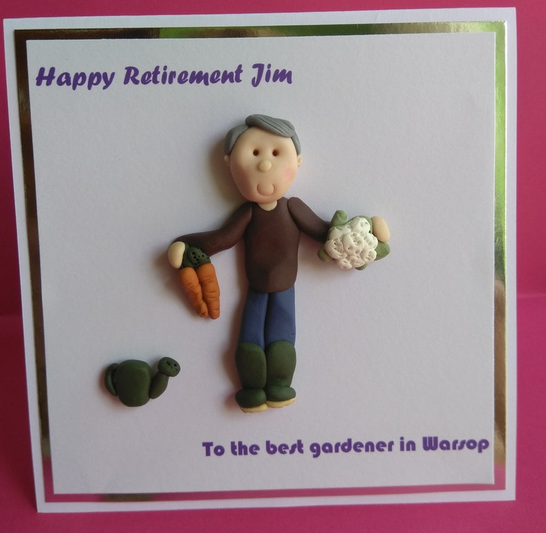 Gardener birthday  retirement personalised 3d card by Hot Dough Creations