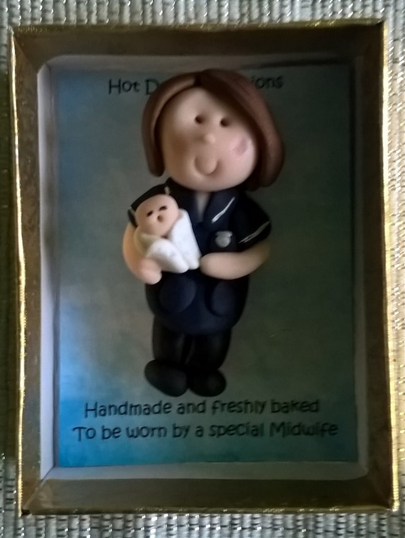 Personalised midwife nurseparamedic brooch pin by Hot Dough Creations