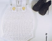 Cut 3-6 months baby romper retro vintage knitted hand, white, embossed stitch cotton thread