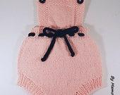Baby romper, retro vintage, straps, size 0.3 months hand knitted in a pink and Black 100 cotton yarn