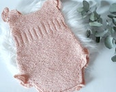 Baby romper, retro vintage, size 0.3 months, hand knitted in 100 pink cotton yarn, small ruffles