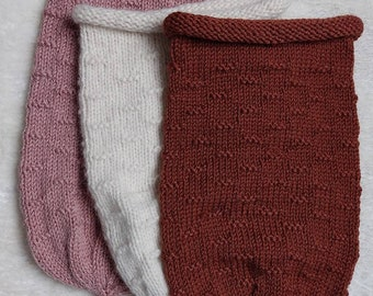 Cocoon wool sock emaillotage birth knitted hand alpaca merino thread different colors