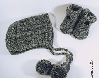 All baby bonnet and booties 3-6 months light gray