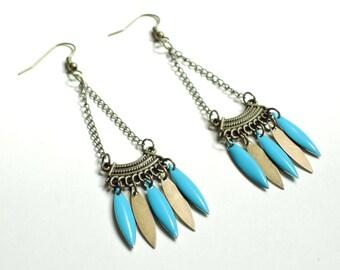 Boucles d'oreilles aztèque bleu