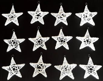 Christmas Star Decoration - Set 12 Pieces white