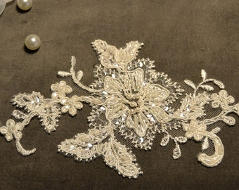 Beaded lace applique ivory