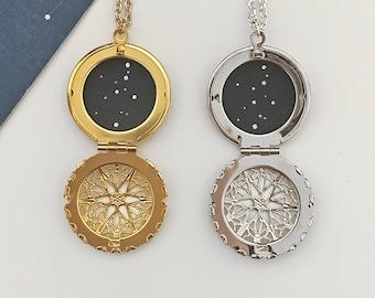 CANCER LOCKET. cancer star sign locket / celestial / inspirational / cancer constellation / personalised custom necklace / zodiac star sign
