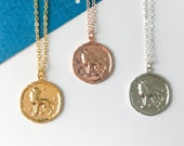 LEO vintage medallion necklace // zodiac star sign leo astrology, coin medallion, pendant necklace, dainty delicate layering