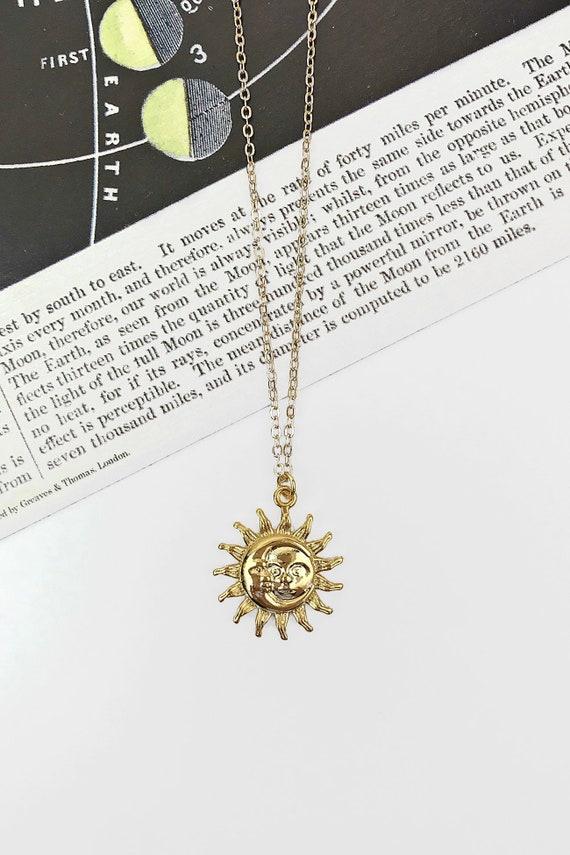 Yean Star Moon Sun Pendentif Ras de cou Collier superpos/é Bijoux en or pour femmes et filles