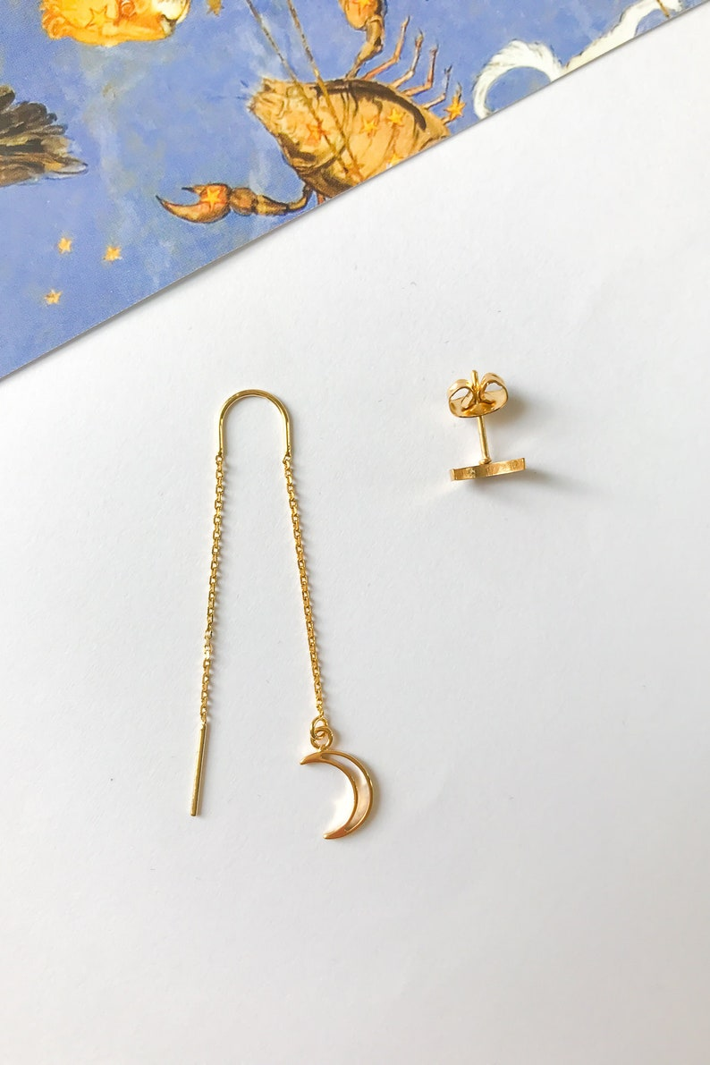 MOON THREADER earrings  crescent moon threader stud earrings  dainty delicate jewellery  celestial mismatched  mothers day gift for her