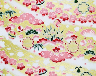 Japanese Yuzen Chiyogami Washi Paper - Pink blossoms and clouds on gold, origami Japanese paper for crafting and scrap booking, Card making