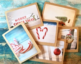 beach theme christmas cards set of 6 coastal christmas cards with envelopes original photographs jones beach long island - Beach Themed Christmas Cards