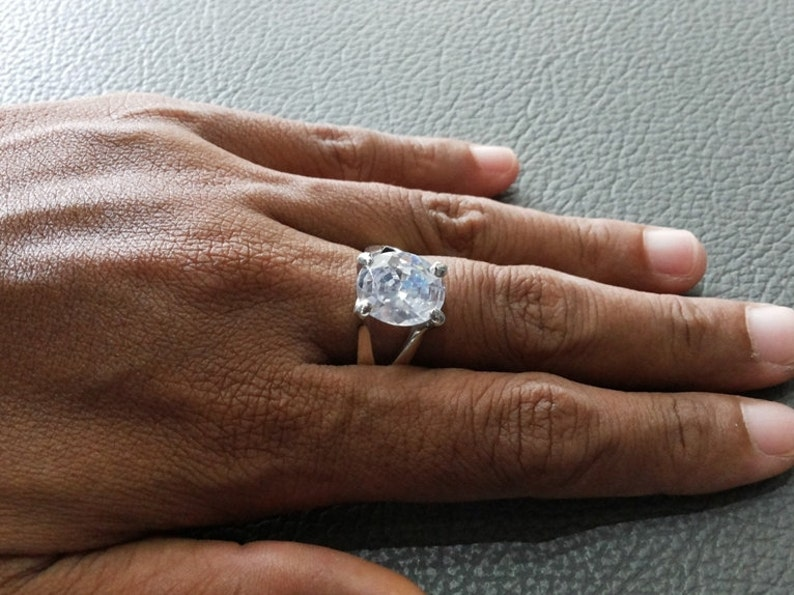 WHITE color stones with 925 Sterling Silver RING # White zircon proves to be lucky for the creative minds # Simple ring design jewelry
