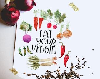 Eat Your Veggies- watercolor, handlettered print