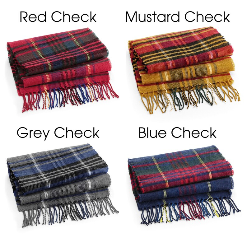 The Toni 2nd Cotton Anniversary Gift. Personalised Tartan Scarf Birthday Gift for Her Birthday Gift for Him