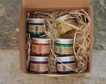 6 jars of handmade watercolour in a card box.Bright colours