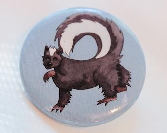 Skunk Button Pin, Cute Animal Pin, Kawaii button pin, Woodland creatures art, Unique animal pin, Gift for kawaii girl, Nature lover gift