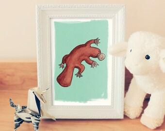 Platypus Print 5x7, Animal art print, Kids wall art, Living room decor, Cute platypus, Turquoise blue