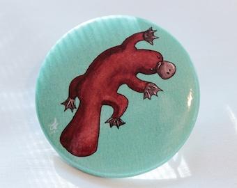 Platypus Button Pin, Cute Animal Pin, Kawaii animal pin, Unique animal pin, Gift for Kawaii girl, Turquoise button pin, Australian Animal